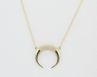 Double Horn Necklace/ 14k Solid Gold Double Horn Necklace w/ Diamonds/ Moon Necklace/ Double Horn Choker/ 14k Gold Horn Necklace Diamonds