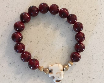Red Beaded Bracelet with Elephant Accent