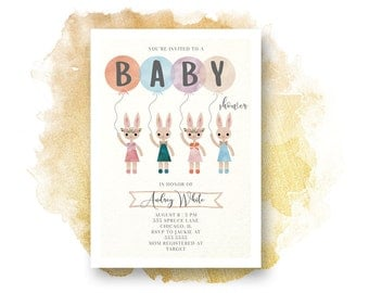 Baby Shower Invitation, BUNNIES  Baby Shower Invitation, Printable, GENDER NUETRAL, Baby Shower, Watercolor, Illustration,