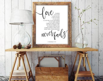 Love Is Patient Print | 1 Corinthians 13 | Christian Gift Printable | Printable Farmhouse Decor | Love Is Patient Love Is Kind | Anniversary