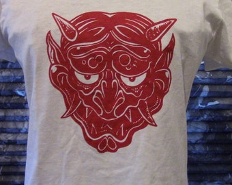 Red Devil Oni Mask Custom T-shirt