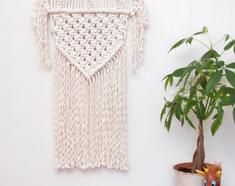 Macrame Wall Hanging With Shaggy Details - 100% Cotton Wall Art