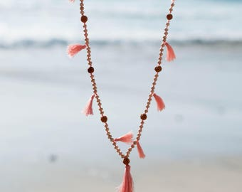 Pink Tassel Necklace ~ Wood Beads ~ Handmade ~ Lightweight ~ Colorful ~ Summer ~ Spring ~ Beach ~ Casual~Everyday~Statement ~ Trend~MN005