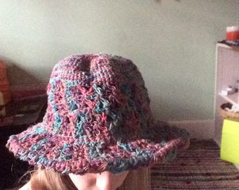 Pink and Blue Hemp Sun Hat