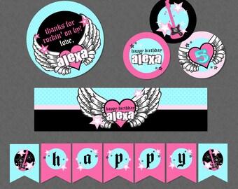 Rocker Girl Birthday Mini Printable Party Pack