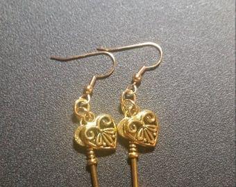 Golden Ornate Heart and Key Dangle Earrings