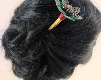 Turquoise Flower Hair Stick