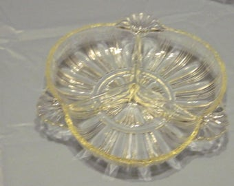 3 Compartment Glass Relish Tray