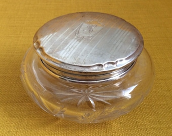 Antique Victorian Sterling Silver Dresser Jar / Jewelry or Trinket Box / Receiver Jar