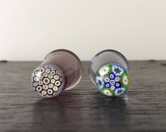 Vintage Caithness Art Glass - Millifiori Top / Art Glass Thimbles / Paperweight style / Sewing