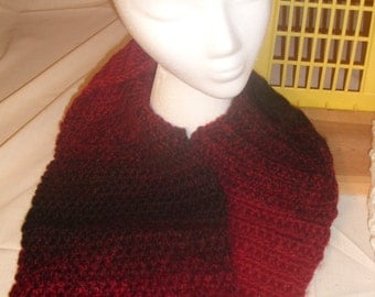 Burgundy and Black Varigated Knitted Scarf