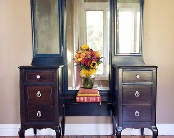 Large Antique Vanity With 3 way mirror