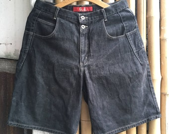 90s GUESS Jeans Loose Black Denim Shorts