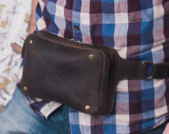 Leather Fanny Pack, colour Nut, handmade leather fanny pack