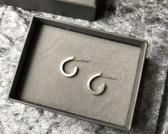 Dewdrop hoop earrings, sterling silver square wire
