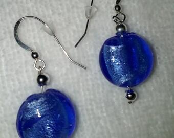 Stering Silver Cobalt Blue Glass Bead Drop Earrings