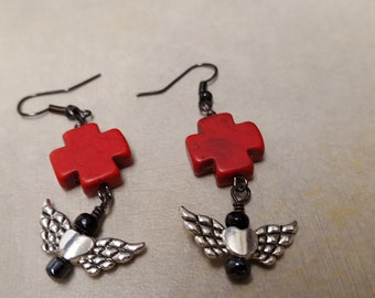 Red Cross with heart wings