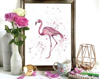 Watercolour Flamingo Print, Illustration, Wall Art, Drawing A4, A5