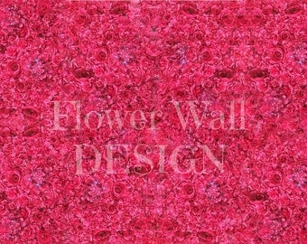 Flower Wall Backdrop with Hot Pink Roses and Hydrangea - Artificial Flower Wall - Silk Flower Wall - Wedding Backdrop - Fiji Forever