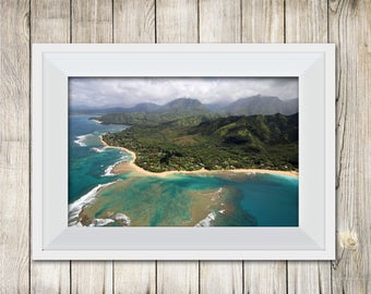 Hawaii Beach photo digital download, Tunnels Beach, Kauai, travel photography, personal and commercial use ok