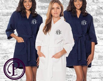 Set of 9; 1 White, 8 Navy Waffle Kimono Bridesmaid Robe, Monogrammed Robe, Embroidered Robe, Wedding Day Robe, Robe Sets, Spa Robes