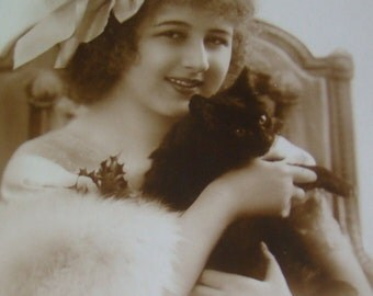 SALE Vintage RPPC of Girl anf Her Cat #2