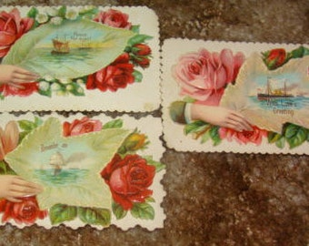 3 Victorian Calling Cards with Fancy Edges (Hands,Leaves,Boats)