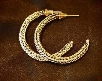 Silver Hoop Earrings ~ Double Viking Knit Earrings ~ Flattened Viking Knit Earrings ~ Viking Knit Jewelry ~ Gift For Her