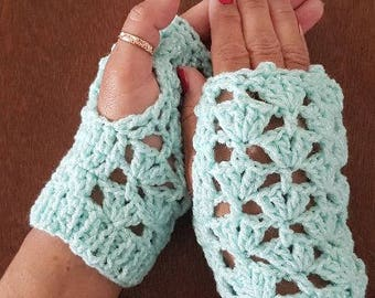 Sea Green Crotchet Handmade Fingerless Mitts