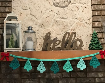 Custom Handmade Crochet Christmas Tree Banner