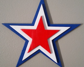 Patriotic Star Handmade Reclaimed Wood 3D Design Wall Decor.  4th of July and Independence Day.
