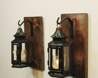 Black Stagecoach Lanterns, Shabby Lanterns, Farmhouse decor, Wall Decor, wall sconce, Candle Lanterns, Black Lanterns,Rustic decor
