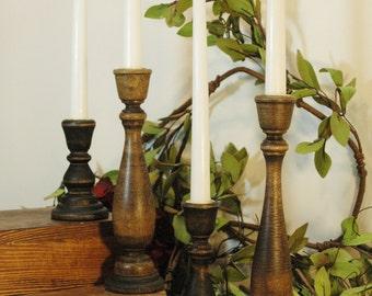 Candlestick set, Farmhouse Candles, Shabby Chic Decor, Housewarming gift, Wood Candle sticks, Birthday gift,Rustic candlestick, Candle stick