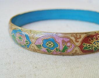 Cloisonne Enamel Bracelet, Vintage Bracelet, Blue Floral Bangle, Gold Tone, Spring Jewelry, Bridal Wedding Jewelry, Cerulean, Sky Blue