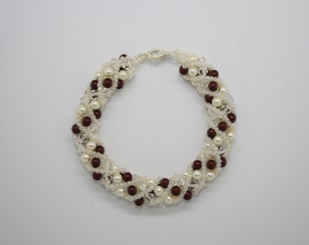 Cream and red Swarovski pearl and crystal bracelet