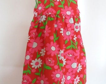 Flower power! Handmade dress, Baby dress, Toddler dress, Girls dress, Flower dress, Red dress, Party dress, children's clothing