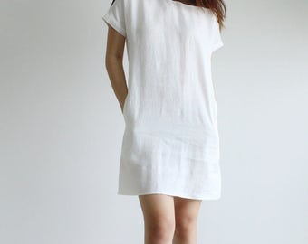 linen short dress, summer dress, linen dress for women, linen clothing, casual linen dress, loose linen dress, soft linen dress, - E16D