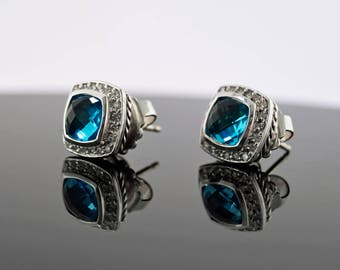David Yurman Sterling Silver Blue Topaz & Diamonds Albion Stud Earrings