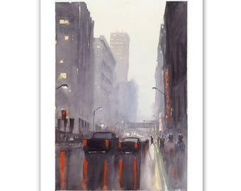 7th Street, Minneapolis, Minnesota, watercolor, fine art print