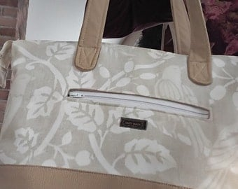 Quality canvas, Faux leather purse, Gift, One of a kind, Beige,Tote/Travel/Carry on/mom/girlfriend/sister/mothers day/birthday
