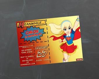 DC Superhero Girls Birthday Party Invitation - Supergirl - Custom Invitation