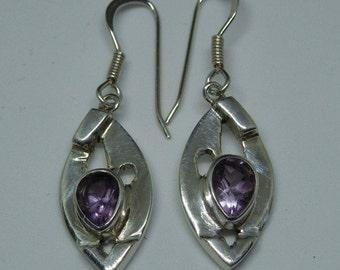 Amethyst and sterling silver earrings - vintage handmade - February birthstone