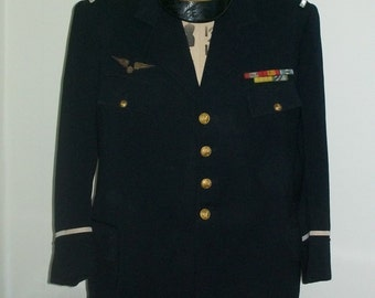 French Air Force uniform with decorations and cap