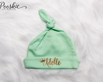Newborn Knot Hat, Mint Baby Hat, Knot Name Hat, Baby Shower Gift, Baby Hat, Newborn Hats, Hospital Hat for Baby, Mint Newborn Hat, P3