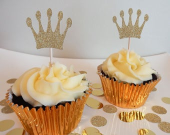 12 x Gold Crown Cupcake Toppers - Double sided. Birthday, Christening, Baby Shower Decorations, Handcrafted