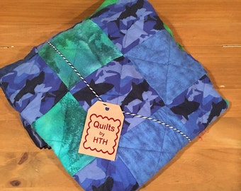 Handmade Baby Quilt, Shark Quilt, Patchwork Quilt, Baby Boy Quilt, Baby Quilt Handmade, Quilt Shark