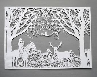 Woods Hunting Papercut, Woodland Animals Art Gift