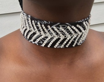 Black bandanna,jewled,diamond,stitched