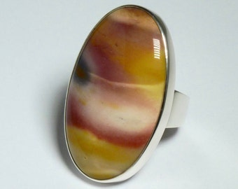 Mookaiet cabochon, silver 925 ring. Mookaiet jasper silver ring.