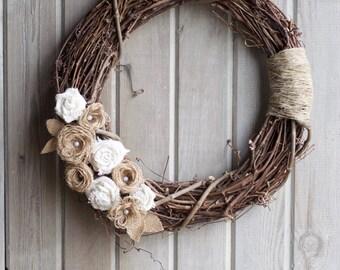 Rustic Burlap grapevine wreath